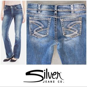 Silver Distressed Suki Boot Cut Denim Jeans 31 12